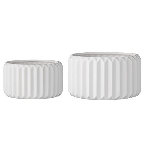 Bloomingville A75210002 Set of 2 Round White Fluted Stoneware Flower Pots ()