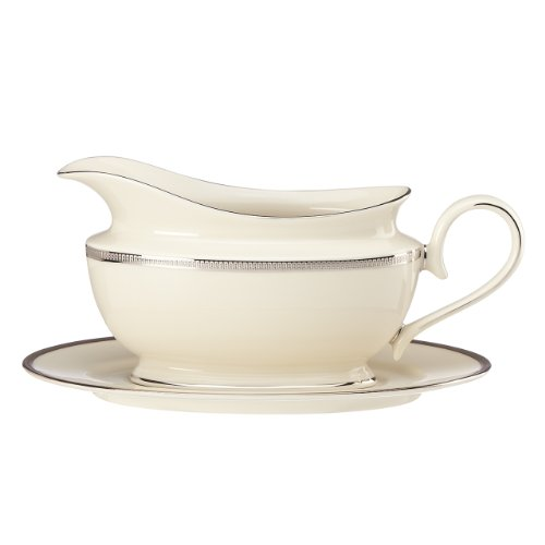 Lenox Tuxedo Platinum Sauce Boat and Stand, Ivory