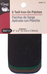 Dritz Assorted Iron-On Patches, 2 x 3-Inch, Dark Colors, 8
