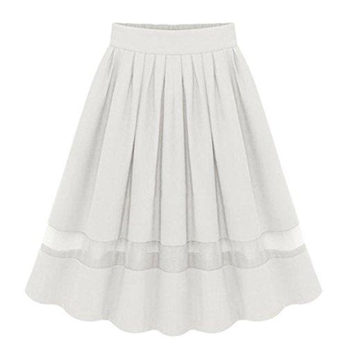 Gonna E Donna Da Con Pattinatrice Elastica Gonne Svasata vestiti Vestito Lunghe Lungo mini Versatile A Bianco abito Pieghe Yanhoo SqnIBwPaw