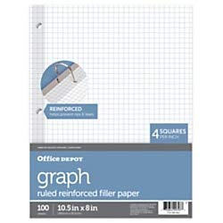 (Office Depot(R) Brand Reinforced Filler Paper, 8in. x 10 1/2in, 16 Lb, Quadrille Ruled, White, Pack of 100)