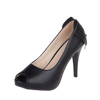 KYDJ @ Mujer-Tacón Stiletto-Tacones / Punta AbiertaVestido-Semicuero-Negro / Amarillo / Beige / Coral Black