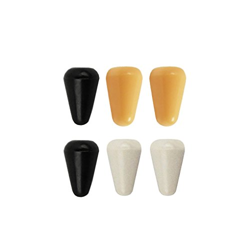 IKN Guitar 5 Way Pickup Selector Switch Plastic Knob Tips Cap 2pcs Black+2pcs White+2pcs Yellow