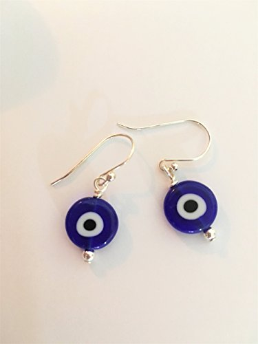 Turkish Blue Glass Evil Eye Symbol Earrings with Sterling Silver Ear Wires