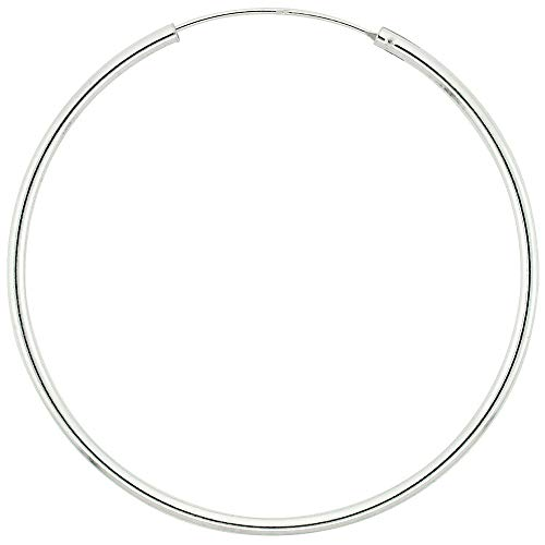 - Sterling Silver Thin Endless Hoop Earrings thin 1 mm tube 2 inch 50mm