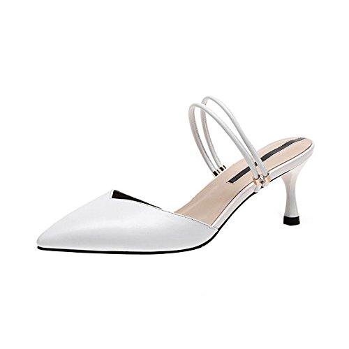 de Mujer Blanco y de Ropa Moda Mujer Zapatos Sandalias Altos Zapatillas Genuino Finos Cuero Tacones Zapatos vCRFqBw