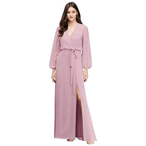 Fairy Tale Chiffon Dress (David's Bridal Long Sleeve Chiffon Faux-Wrap Bridesmaid Dress Style W60041, Dusty Rose,)