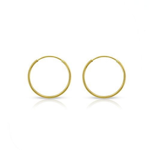 14k Yellow Gold Women's Endless Tube Hoop Earrings 1mm Thick 10mm - 20mm (12mm) by In Style Designz