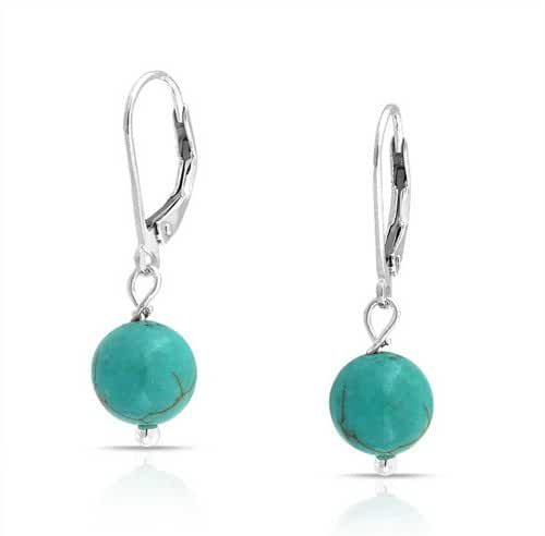 Bling Jewelry Reconstituted Turquoise Bead Lever Back Earrings 925 Silver