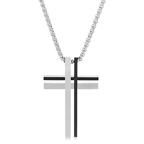 Steve Madden Men's Duo Cross Pendant Necklace in Two-Tone Stainless Steel