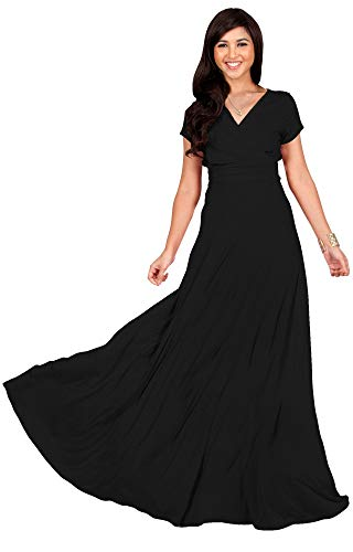 KOH KOH Womens Long Cap Short Sleeve V-Neck Flowy Cocktail Slimming Summer Sexy Casual Formal Sun Sundress Work Cute Gown Gowns Maxi Dress Dresses, Black M 8-10
