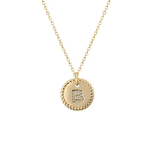 Fettero Gold Initial B Necklace,14K Gold Plated CZ Initial Disc Pendant Necklace for Women,Letter Necklaces for Girls and Boys-B