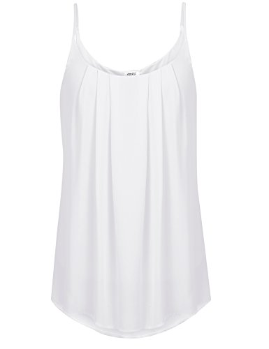 OURS Women's Spaghetti Strap Pleated Chiffon Layered Cami Tank Top Sleeveless Blouse (S, (Layered Spaghetti Strap)
