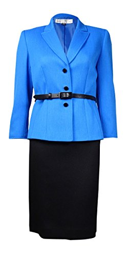 Tahari Belted Three-Button Women's Petite Skirt Suit Blue (2P) ()