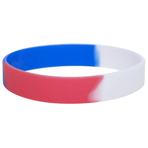 GOGO 12 PCS Silicone Wristbands, Adult Rubber Bracelets, Party Accessories-Red White Blue -