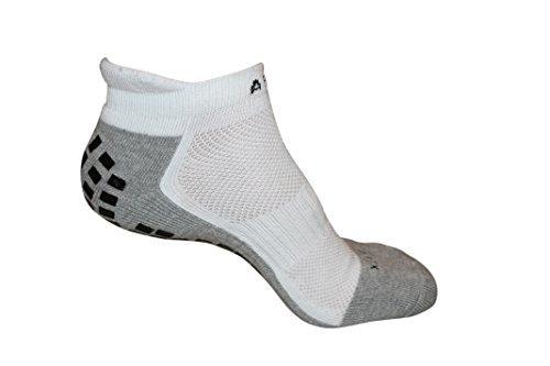 #1 Non Slip YOGA Sport Socks, THE BEST Traction Technology Inside and Outside of Socks, (Sport Ankle White, Medium)