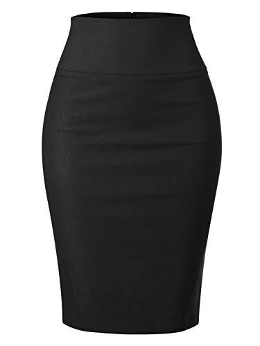 MixMatchy Women's Stretch Office Knee Length Midi Pencil Skirt Black S