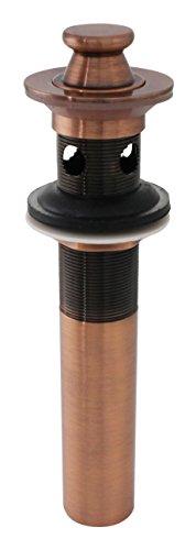 Antique Copper Lift/Turn Vessel Sink Drain w/Overflow