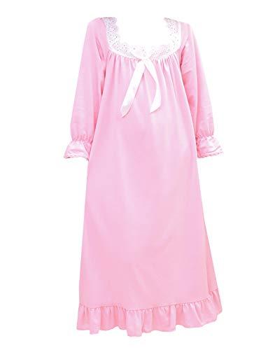 (PUFSUNJJ Girls Pink Cotton Nightgown Soft Sleepwear Toddler 3-12)