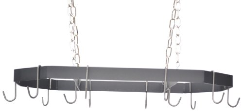 J&J Wire Hanging Pot and Pan Rack with Nickel Chain