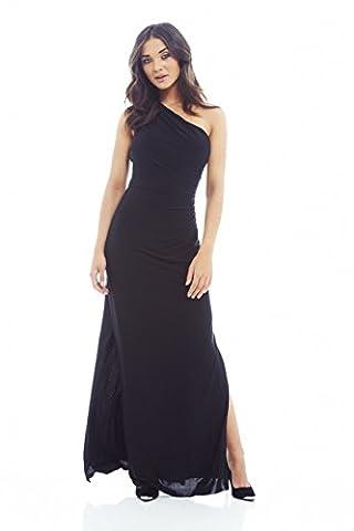 AX Paris One Shoulder Leg Split Slinky Maxi Dress(Black, Size:10) (Leg Split Dress)