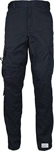Midnight Dark Navy Blue Uniform 9 Pocket Cargo Pants, Poly Cotton Work Pants for EMT EMS Police Security with Pin - (W 27-31 - I 29.5-32.5) Small Army Blue Uniform