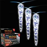 Solar Powered Four Inch Icicle Christmas Lights - Set Of 20