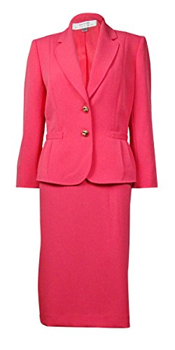 Tahari Women's Notched Lapel Pleated Detail Crepe Skirt Suit (18W, Coral)