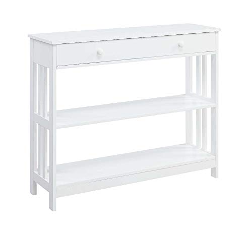 Convenience Concepts 203395W Mission 1-Drawer Console Table, White