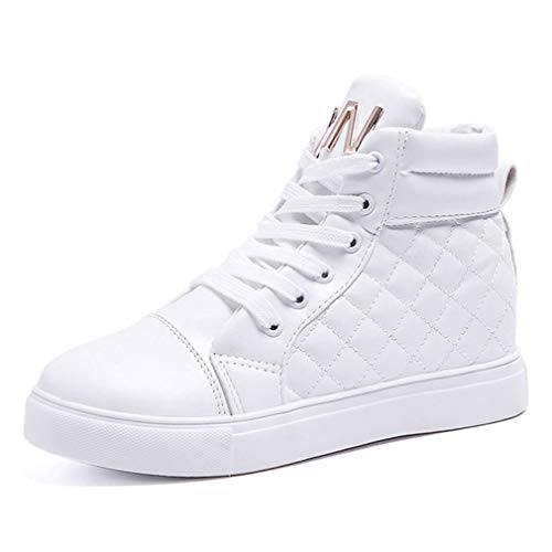 CYBLING Women's Fashion Lace Up High Top Quilted Sneakers Casual Anti-Slip Sports Shoes White
