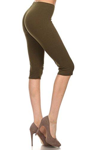 Leggings Depot Women's Popular Ultra Soft Capri Cotton Leggings Pants2 (Medium, Olive)