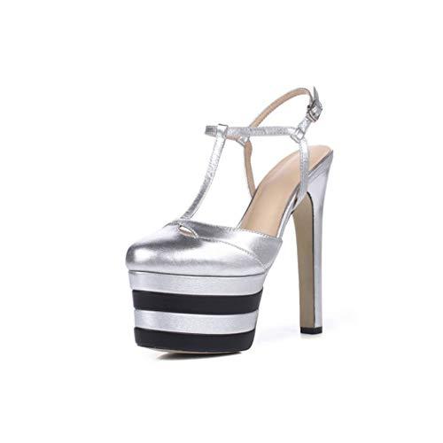Visible Wind slides-sandals 16 Colors Size 33-42 Rivets Women Summer Shoes Woman's Super High Heel,Silver,3