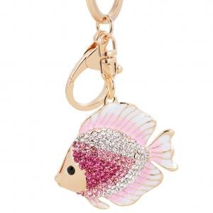Fashion Animal Design Jewelry Rhinestone Resin Riches Fish Pendant Keychains Metal Keyrings For Women Bag,Pink -