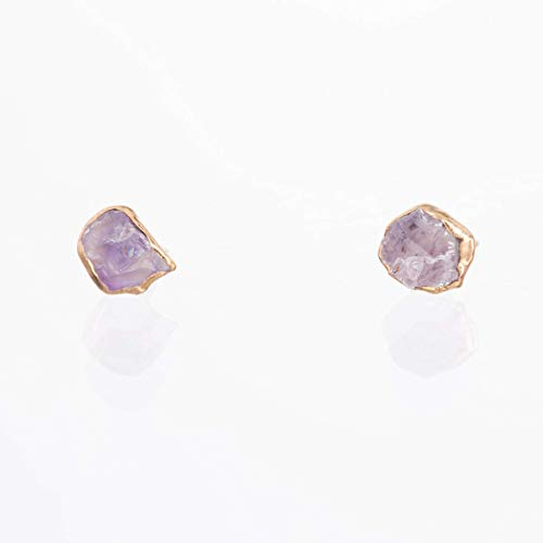 Raw Amethyst Stud Earrings, Yellow Gold, February Birthstone