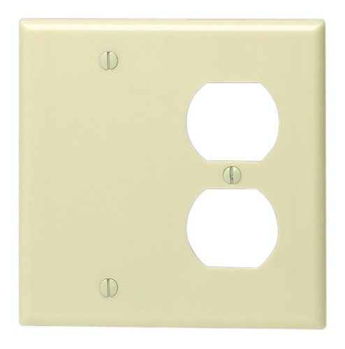Leviton 86008 2-Gang 1-Duplex 1-Blank Device Combination Wallplate, Standard Size, Thermoset, Box Mount, Ivory