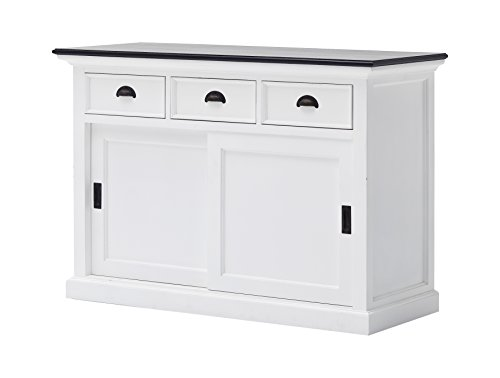 NovaSolo Halifax Contrast Pure White Mahogany Wood Sideboard Dining Buffet With Storage : Sliding Doors And 3 (3 Drawer Sideboard Server)
