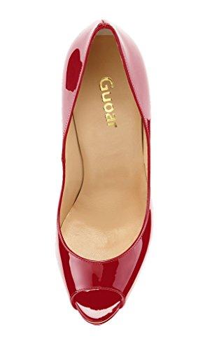 Guoar - Scarpe peep toe Donna, Rosso (Rosso), 35
