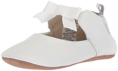 Robeez Girls' Ankle Strap Mary Jane-First Kicks Crib Shoe, Adeline-White, 6-9 Months M US Infant -