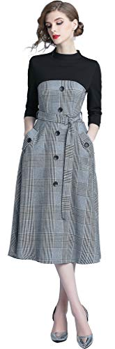 egant Fake Two Pieces 3/4 Sleeve Checkered A-Line Midi Evening Dress,Gray,Tag XXL = US Size 10 ()
