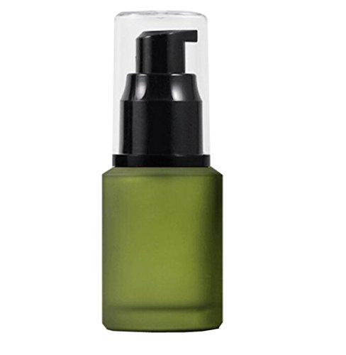 Gel 1 Oz Pump - 1PCS Green Upscale Empty Refillable Glass Cosmetic Cream Lotion Pump Bottle Shower Gel Essential Oil Shampoo Sample Press Bottle Jar Pot Cosmetic Make up Dispenser(30ml/1oz)