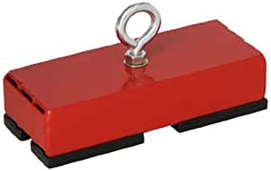 """Heavy-Duty Retrieving and Holding Magnet, 5"""" Length, 2"""" Width, 1"""" Height with Eyebolt, Nut, and Magnetic Shields, 150 Pounds Pull, 1 each"""