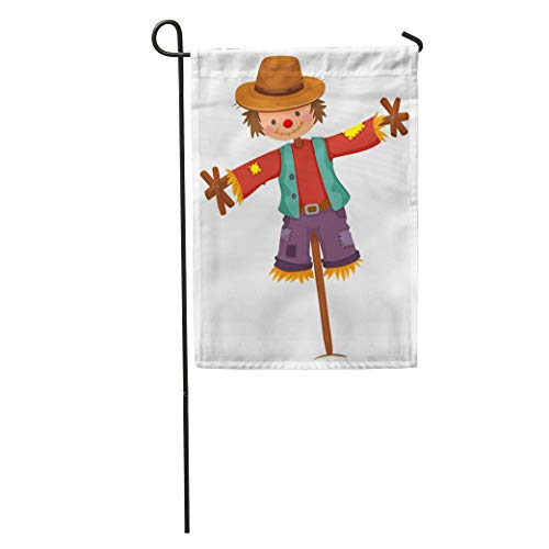 (Semtomn Garden Flag Character Scarecrow on Wooden Stick Clip Clipart Cute Drawing Farming Home Yard House Decor Barnner Outdoor Stand 28x40 Inches Flag)