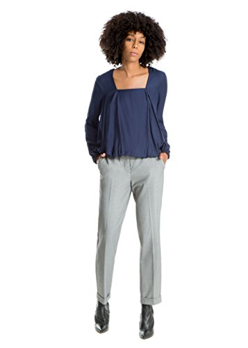 MAXSTUDIO Square-Neck Pleated Top Womens Office Blouse Shell
