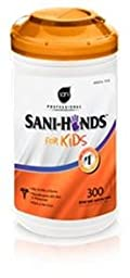 Sani Professional Sani-Hands for Kids, 5 x 7 1/2, White - six packs of 300 wipes each.