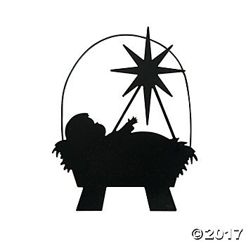 Nativity Tree Ornament - Metal BABY JESUS in Manger SILHOUETTE - CHRISTMAS Ornaments 4.75