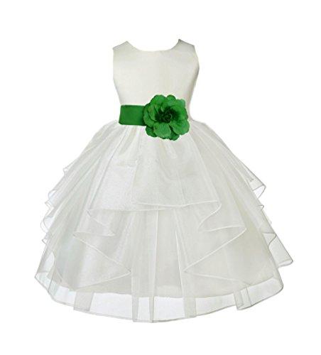 Ivory Organza Flower Girl Dresses - ekidsbridal Wedding Pageant Ivory Shimmering Organza