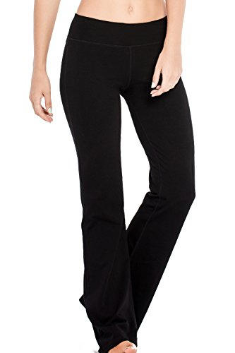 Flare Pant Jazz Leg - Houmous S-XXL Petite/Regular/Tall Length, Women's Yoga Bootleg Pants Inner Hidden Pocket Workout Pants