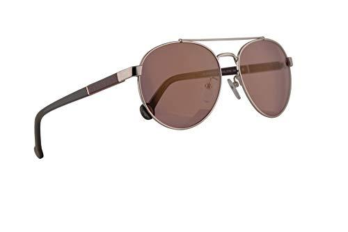 (Carolina Herrera SHE088 Sunglasses Shiny Palladium w/Pink Mirror Gold Lens 57mm 579G SHE 088)