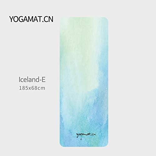 Yoga mat ヨガマット女性折り畳み式の薄型1.5ミリメートルトラベルヨガマットノンスリップフィットネスヨガブランケットゴムコンパウンドスエード workout (色 : Iceland-E, サイズ : 1.5mm)