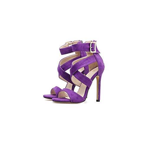 Zapatos 36eu Encaje De Block Romanos Nueva Strappy Tobillo Suelto Cómodo Correa Tacón Toe Sandalias Cruz Ghfjdo Mujeres Color purple Verano Abierto RpzqTT